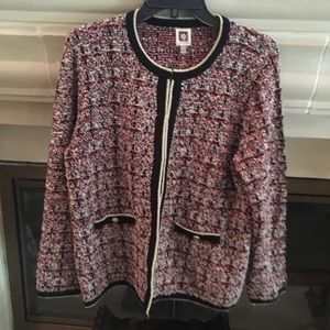 Anne Klein Tweed Sweater Cardigan Jacket